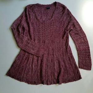 New Directions Long Sleeve Knit Top Babydoll XL